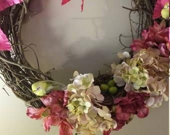 Hot Pink Freesia and Peony w/nesting birds