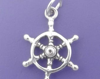 SHIP WHEEL Charm .925 Sterling Silver, Captains Helm, Sailor Pendant - sc381