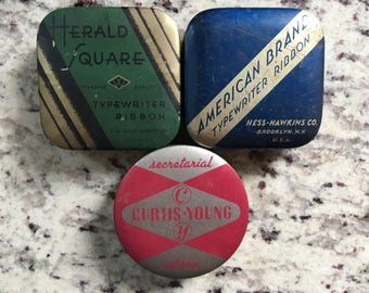 Qty 3 - AVAILABLE - (price per tin) antique / vintage typewriter ribbon advertising tins fantastic for mini storage / display deco office