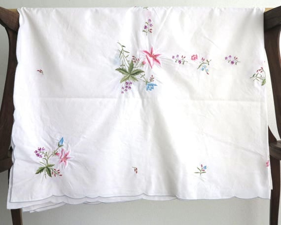 Embroidered tablecloth with bouquets of multi colored flowers on white linen, rectangle, 65 x 50 inches / 165 x 127 cm, mid 20th century