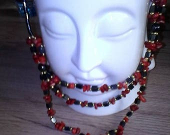Hematite necklace and Red coral.