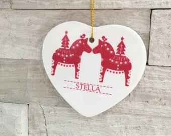 Christmas Dala Horse Heart Ornament