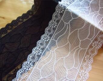 "ivory white wedding lace,Stretch Lace Trim - Extra Wide Lace Trim, 7.8"" Wide Lace Trim- white"