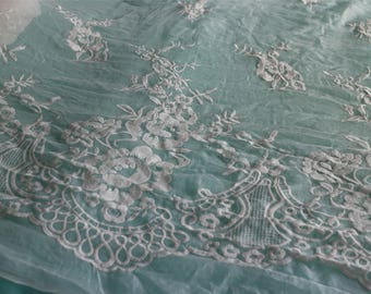 Silk rose lace fabric,cotton embroidery on silk fabric,wedding dress fabric,one side embroidery,lace chiffon,embroidery chiffon-ZSME0014