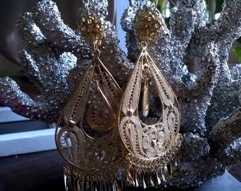 Gorgeous Large Oaxaca Filigree Earrings Frida Style,Festival,Costume Earrings 1970's Oaxaca Filigree Earrings Chandelier 18K Gold Plated