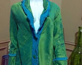 Yak Magik Raw Silk Jacket,Boho Jacket,Romantic Jacket,Shabby Chic Jacket,Funky Jacket/Reto Jacket size L