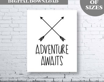 Adventure Awaits Printable Wall Art.  Inspirational Quote. Typography Art. Adventure Quote Art. Black and White Wall Art. Modern Wall Art.