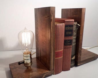 30% OFF SALE Edison Bookend Lamp - Vintage Lamp - Table Lamp - Edison Light - Unique Lamp - Brass lamp - Bedside Lamp - Rustic Lighting - Lo