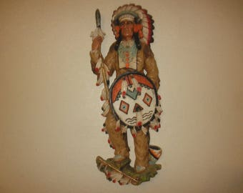 Universal Statuary Corp. Native American Indian Wall Plaque Signed 1975