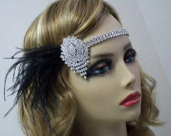 Rhinestone 1920s headband, Flapper headpiece, Gatsby headpiece, Forehead headband, 1920s dress, 1920s accessories, Roaring 20s, Jazz Age