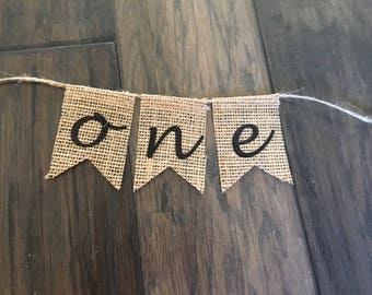 One Burlap Banner, One Banner, Cake Topper, One Burlap Banner for Cake, One Cake Topper
