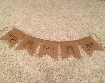 Happy New Year Burlap Banner, Happy New Year Banner, New Years Banner, New Year Sign, Happy New Year Banner, New Year Eve Banner