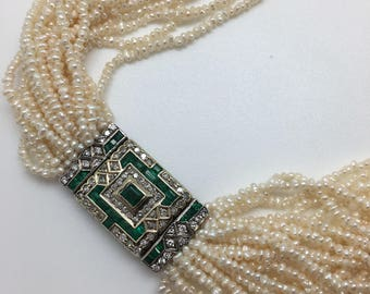 Emerald And Diamond Seed Pearl Necklace