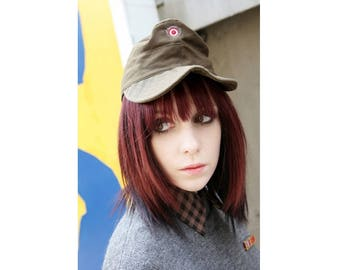 Vintage Austrian army cadet cap beret military hat bundesheer olive khaki baseball peaked