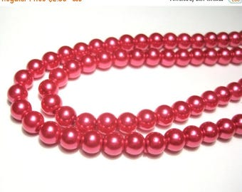 50% OFF Clearance Sale-- Red Glass Pearl Beads 6mm Round Glass Beads R-3