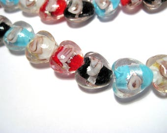 1 Strand Handmade Mixed Color Heart Silver Foil Lamp work Glass Beads