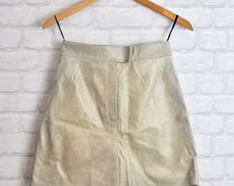 1990s Vintage A-line Cream Leather Skirt, Mini Skirt.