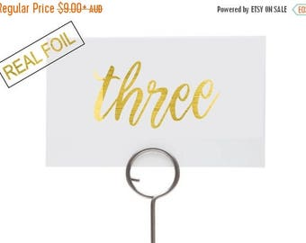 7 DAY SALE 15% OFF Wedding reception table numbers, real gold foil, landscape sign, pretty font, custom decor for wedding, choose your foil