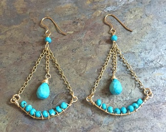 Turquoise gemstone gold statement earrings