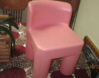 Vtg Little Tikes Pink Chair 16 Inch High Seat Is 11 By 9 Inch Strong And