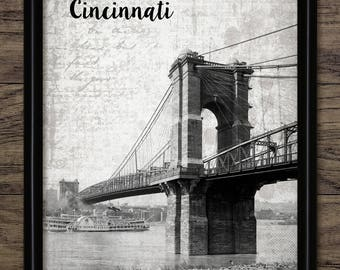 Vintage Cincinnati Art Print - John A. Roebling Suspension Bridge - Cincinnati Ohio United States - Ohio River #2501 - INSTANT DOWNLOAD