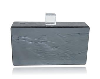 Metallic Charcoal Acrylic Box Clutch