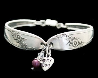 Spoon Bracelet -  Love My Dog Charm - Queen Bess Silverware Jewelry  - Gift for Dog Lover,  Pet Awareness  Gifts Under 40 Paw Print Charm