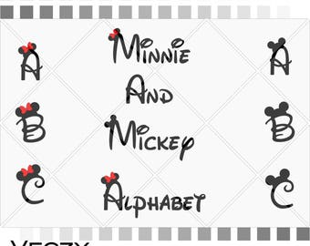 Mickey and minnie mouse font, Walt Disney Font Alphabet, svg files, disney font, walt disney, svg files for cricut, disney Monogram.