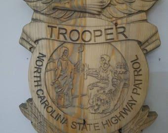 3D V CARVED - Personalized North Carolina State Trooper Highway Patrol Badge V Carved Wood Sign