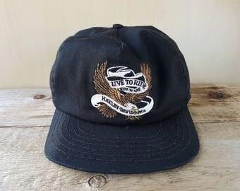 HARLEY DAVIDSON Motorcycles Vintage Black Strapback Hat 'Live To Ride, Ride To Live' Biker Eagle Baseball Cap American Embroidered Ballcap