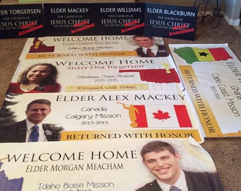 Missionary Welcome Home Banner / Missionary Banner  CUSTOMIZED for YOUR MISSION  **Digital File