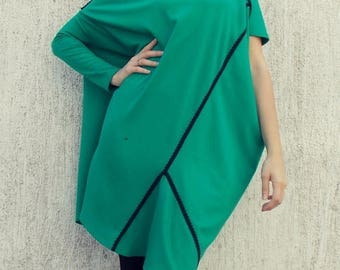 SUN SALE 25% OFF Loose Plus Size Emerald Dress / Asymmetrical Jersey Oversize Dress Tdk91