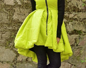 SUN SALE 25% OFF Yellow Padded Jacket with Acrylic Sleeves / Yellow Padded Jacket Dress / Extravagant Yellow Jacket / Padded Winter Jacket T