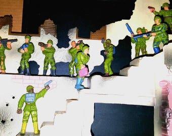 GUTS - Ground Troops:Modern Army Men Ground Troops, (10) Soldier Figures, Vintage GI Joe Like Action Figures 1980s by Mattel