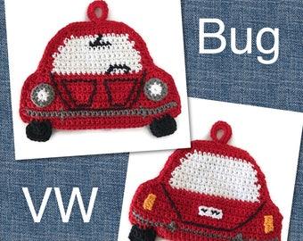 VW Bug Potholder,Classic Red VW Beetle, Cotton Pot Holder,Volkswagen Trivet,Vintage VW Kitchen Decor,Housewarming,Cute Gift for Him or Her