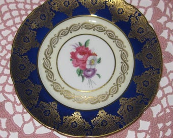 PARAGON COBALT BLUE and Gold Bread and Butter Plate.  Bone China.  Made in England