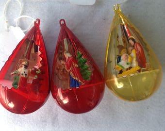 Set of three vintage plastic diorama manger nativity Christmas Scenes ornaments