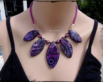 """Jackson"" (polymer) dark purple necklace"