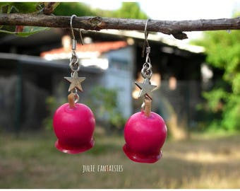 "Of greedy earrings ""Pomme d'Amour"" Fimo clay"