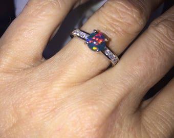 Black Opal Ring  .33ct Genuine Diamonds Fashion Birthstone Anniversary Ring gift Round Opal Ring White GoldPristine Custom Rings