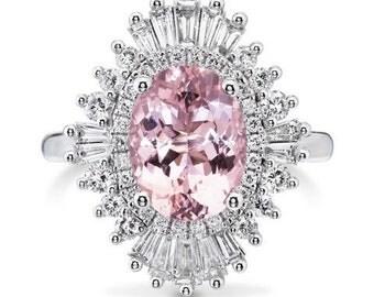 Morganite and Diamond Engagement Ring Pink Morganite Ring 2.40ct Oval Morganite .92ct Diamonds 18kt Gold Art Deco Ring Pristine Custom Rings
