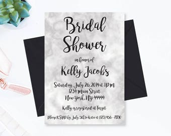 Marble Bridal Shower Invitation, Printable Invite, Wedding Shower Invitation, Digital Invitation, Editable PDF Invite, Black White Marbled
