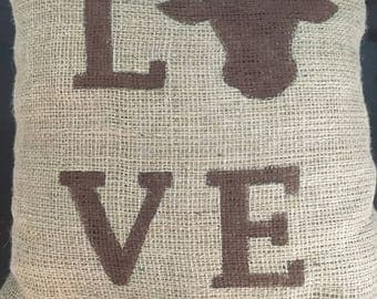 Love cow pillow, burlap pillow