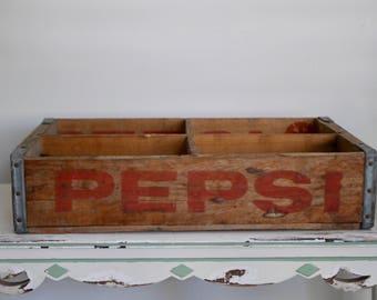 Vintage 1960's Pepsi Soda Crate Case