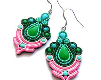 Green Earrings, Pink Earrings, Earrings, Big Earrings, Huge Earrings, Statement Earrings, Polymer Clay Earrings, Dangle Colorful Earrings