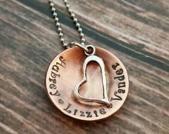 Rustic copper Hand stamped kids name necklace with heart charm