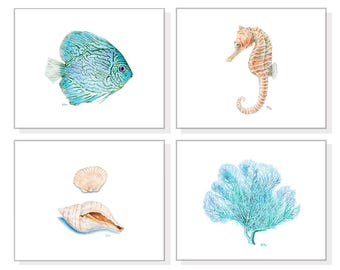 Coastal Art Coastal Prints Coastal Decor Coastal Wall Art Beach Home Decor Ocean Art Sea Watercolor Fish Seahorse Coral Shell Seashell Set 4