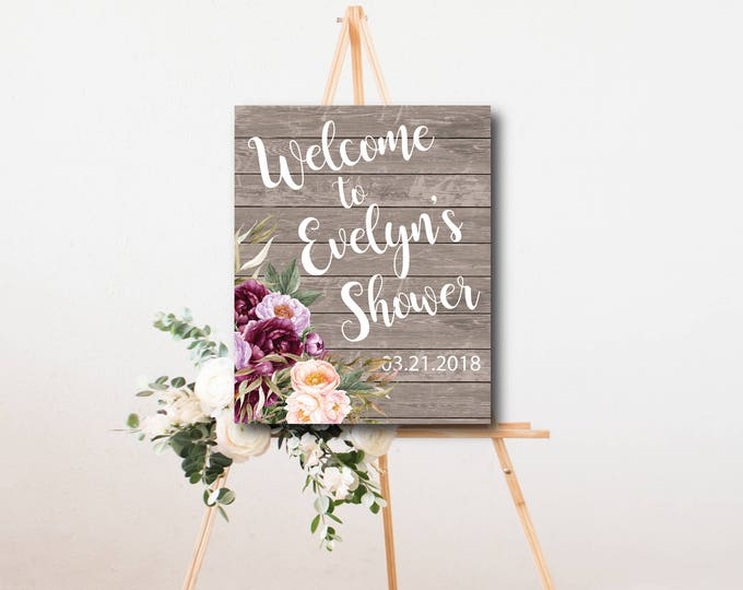 """Burgundy Floral Welcome Sign // Any Occassion // Peonies // Gold // 8x10"""" // 11x16 // Watercolor // Rustic Wood // FLORENCE COLLECTION"""