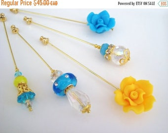 15% OFF SALE Sunshine Hijab Pins Set- Stick Pins / Hat Pins / Decorative Pins / Eid Gifts / Bridal Gifts / Flower Hijab Pins / Blue Yellow P