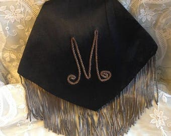 "Lovely Vintage 1920s~ 1930s deco monogrammed ""M"" black satin metallic braid and fringe bag"